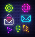 internet communication neon signs collection vector image