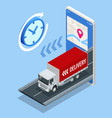 isometric delivery truck with cardboard box vector image