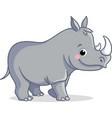 little rhino is standing on a white background vector image vector image
