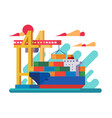 loading vessel in port vector image