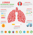lungs infographic design with set flat icons vector image