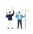 man and woman political agitators with megaphone vector image vector image