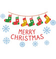 merry christmas sign with socks garland and vector image vector image