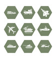 military transportation icons set - army icons vector image vector image