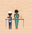 mother and son cook food vector image vector image