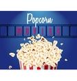 movie film reel and popcorn vector image vector image