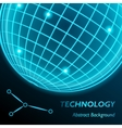 Neon grid globe background Sphere with modern vector image