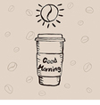 Paper coffee cup and lettering vector image