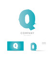 q blue letter alphabet logo icon design vector image