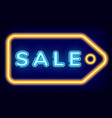 sale neon sign pricetag discount store vector image