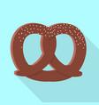salt pretzel icon flat style vector image