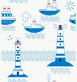 sea ships lighthouses seagulls clouds sun vector image vector image