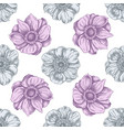 seamless pattern with hand drawn pastel anemone vector image vector image