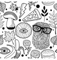seamless pattern with owls for coloring book vector image vector image