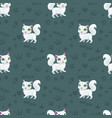 seamless pattern with pretty white cats vector image vector image