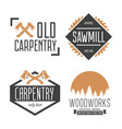 set of vintage carpentry woodwork and mechanic vector image