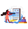 shopping online woman buying in internet store vector image vector image