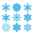 Snowflakes winter blue icons set vector image vector image