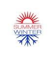 summer and winter symbols background vector image vector image