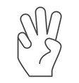 three fingers up thin line icon number three vector image vector image