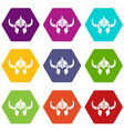viking helmet knight icons set 9 vector image
