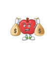 with money bag red apple cartoon mascot character