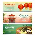 china travel horizontal banner set vector image