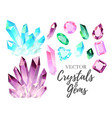 set of crystals and gems vector image