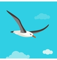 Albatross bird is flying in cloudy sky vector image