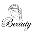 Beautiful Woman with wavy hair and text beauty vector image vector image