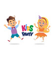 boy and girl with birthday hats happily jumping vector image vector image