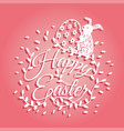 bunny and flowers for easter day greeting card vector image vector image