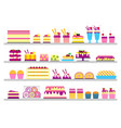 cake stand in shop sweet for vector image vector image