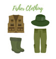 cartoon clothing for fishing hunting vector image