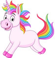 cartoon rainbow unicorn horse vector image vector image