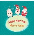 Christmas and New Year Greeting card Santa Claus vector image