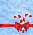 Christmas background with gift bow and sweet canes vector image vector image