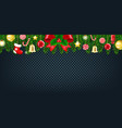 christmas border with fir tree vector image vector image