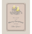Christmas Candle in doodle style black on white vector image