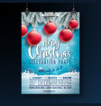 christmas party flyer with typography vector image vector image
