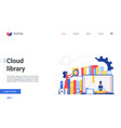 cloud library landing page people reading online vector image vector image
