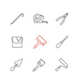 construction tools linear icons set vector image vector image