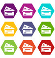 credit card icon set color hexahedron vector image vector image