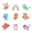 cute cartoon owls set lovely colorful owlets vector image vector image