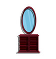 dressing table with mirror icon vector image