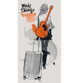 fashion girls with suitcases and guitar vector image