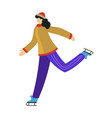 figure skater girl training on ice rink isolated vector image
