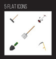 flat icon garden set of trowel hay fork cutter vector image vector image