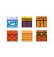 flat set of 6 texture types for platform vector image