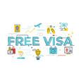 free visa word vector image vector image
